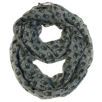 Wise Owl Infinity Scarf- Gray