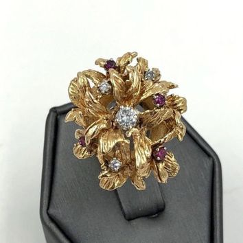 Vintage 14k Yellow Gold Diamond Ruby Flower Ring