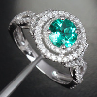 Round Emerald Engagement Ring Pave Diamond Wedding 14k White Gold 6.6mm Double Halo