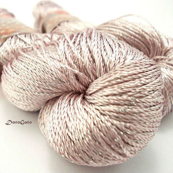 "Summer yarn sparkle, shine ashes of roses color, glitter, polyamide, shining, Superfine, Lace weight, crochet yarn ""Shine"""