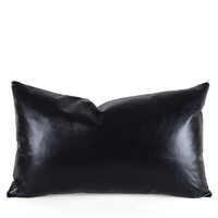 Black Leather Pillow - All Soft Goods - Decorative Throw Pillows - Leather Designs - Leather Pillows - New Arrivals - Pfeifer Studio Exclusives @ Pfeifer Studio- Detail