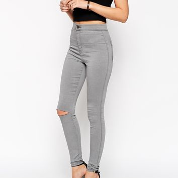 ASOS Rivington High Waist Denim Jegging In Shadow Grey with Ripped Knee