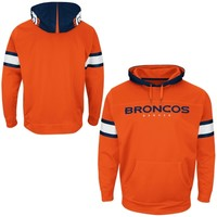 Mens Denver Broncos Majestic Orange Helmet Synthetic Pullover Hoodie