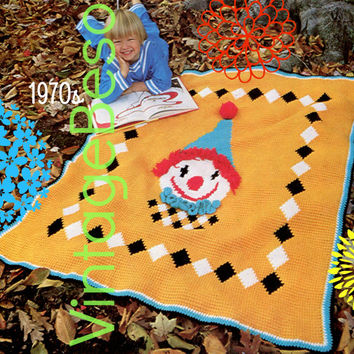 Instant Download Afghan Crochet Pattern Vintage 1970s Happy Clown Afghan Crochet Pattern TUNISIAN Afghan Stitch Printable PdF Pattern
