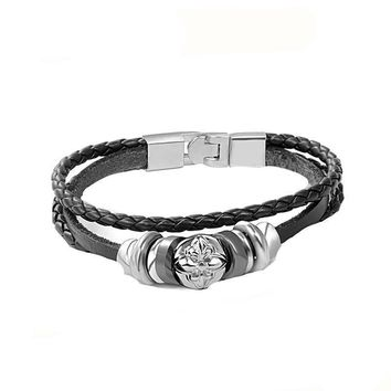 Handmade Leather Retro Braided Men Charm Bracelet