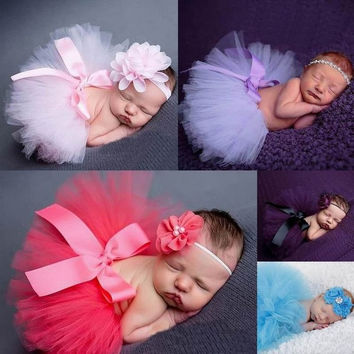 Baby Skirt + Headband Set Princess Girls Tutus Infants Toddlers bubble Dance Cake chiffon petti Skirt kids Party Dancewear Ballet skirts pettiskirt Photography photo props costume 0-12month = 1945934340