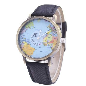 Womens World Map Denim Strap Watch Girls Fashion Sports Casual Watches Best Christmas Gift
