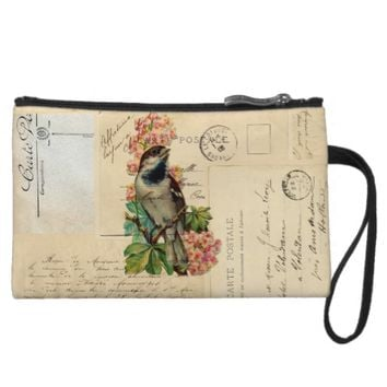 Vintage Bird Flowers French Postcards Wristlet