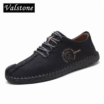 Valstone 2018 Autumn Leather Casual Shoes Men handmade vintage sneakers outdoor Hot Sale Mocassins chaussure homme Plus size 48