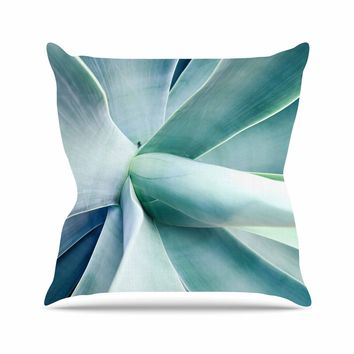 Succulant - Green Teal Nature Photography Throw Pillow