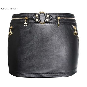 Charmian Women's Faux Leather Black Mini Skirt Summer Sexy Steampunk Skirt with Golden Zipper