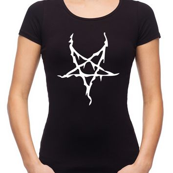 White Thorn Jagged Inverted Pentagram Women's Babydoll Shirt Occult Clothing