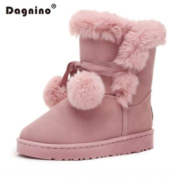 DAGNINO 2017 Fashion Female Flat Hair Ball Fluffy Furry Warmer Plush Platform Winter Ankle Snow Boots Women's Style Black Shoes