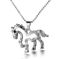 Unisex Alloy Cute Small Horse Shape Pendant Necklace