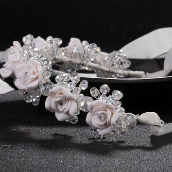 CREYCI7 new red white flower headbands bridal head accessories wedding crystal bride wreath hair jewellery  Hair Sticks