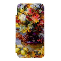 beautiful colored flowers & apples iPhone SE/5/5s wallet case