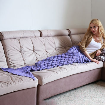 Mermaid Blanket Yarn Knitted Mermaid Tail Blanket Handmade Crochet Soft Home Sofa Sleeping Bag Adults Sleeping Throw IC989216