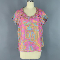 Bohemian Silk T-Shirt Blouse / Vintage Indian Sari / Indian Silk Blouse / Pink Abstract Print / Size Medium M