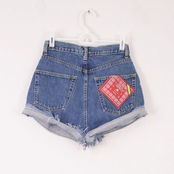 Vintage (Size XS) Guess Distressed High Waisted Denim Shorts