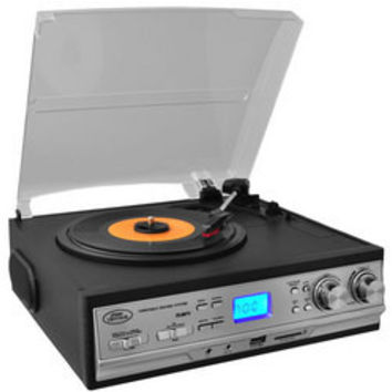 Classic Retro Style Turntable - Plays AM/FM Radio, Cassettes & MP3s - USB/SD Direct Record Function & Aux Input For iPod/MP3 Players