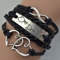One direction Double peach Infinite love ancient silver black Fashion Bracelet best gift