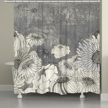 Flowers on Grey Shower Curtain