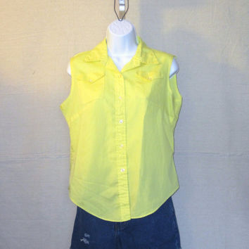 Vintage 70s BEACH SLEEVELESS BUTTON Up Yellow Lightweight Cute Stylish Women Medium Collared Blouse Top