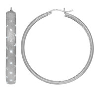 Sterling Silver Rhodium Satin And Diamond Cut Finish Domed Tube Round Hoop Earrings - 45 mm Diameter