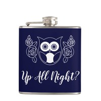 Up All Night? Retro Owl and Roses Cute Funny Hip Flask