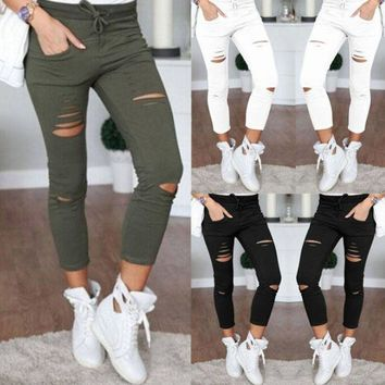 VONE5YD Women Denim Pants Holes Destroyed Knee Pencil Pants Casual Trousers Black White Stretch Ripped Jeans