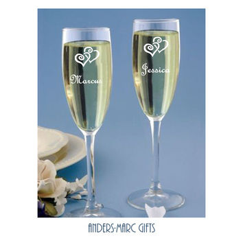 Couples Personalized Champagne Toasting Flutes in Popular 2 Hearts Entwined Design.  Elegant  Wedding, Shower or Anniversary Gift Set of 2.