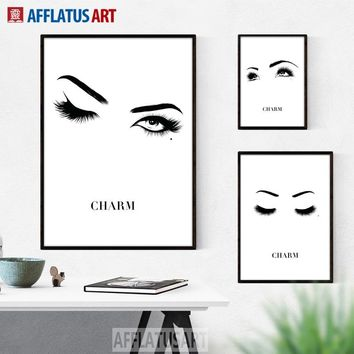 Charm Eyes Nordic Poster Wall Art Canvas Painting Black White Posters And Prints Wall Pictures For Living Room Girl Room Decor