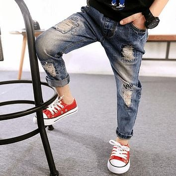 Hot Sale Spring Autumn Kids Jeans Broken Baby Trousers Children Denim Clothing Boys Pants high quality Clothes size:3-10 years