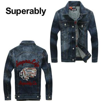 High Quality Spring Autumn Newly Men Jackets Dark Color Indian Totem Embroidery Outwear Coat Denim Jacket Men Plus Size S-XXXL