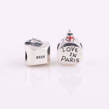silver charms Sterling Silver love in paris charm fits pandora charm bracelet jewelry