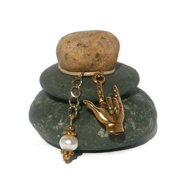 I Love You Sign Language MIni Rock Cairn, Deaf, Spiritual, Zen Garden, Wishing Stones, Inspirational Gift, Stone Cairn, Stacked Rocks Stones