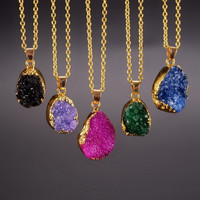 Natural Stone Quartz Crystal Pendant Amethyst Necklace Gold Chain Necklaces