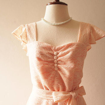 OLIVIA - Light Peach Dress Short Bridal Dress or Floor Length Formal Lace Dress Ruffle Sleeve Sweetheart Vintage Marie Antoinette Dress