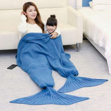 Parent-child Mermaid Plaid Quilt Mermaid Tail Blanket Fleece Throw Plush Plaid Sofa Bed Fluffy Bedspread Cover Bed Knit Mermaid