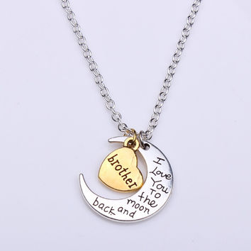 Hand stamped I Love You to the Moon and Back Charm Necklace Silver Gold brother +Gift Box