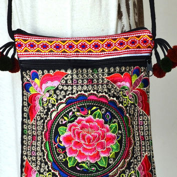 Women Floral Handbags Hmong Bag Ethnic Clutch Embroidered Purse Thai Fashion Hill Tribe Bag Vintage Handbags, Colorful Butterflies