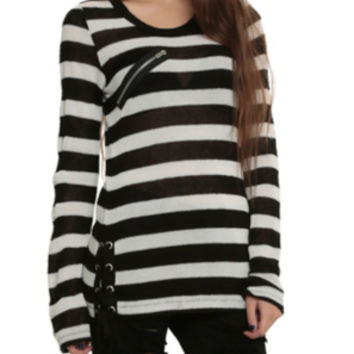 Royal Bones By Tripp Black & White Striped Tunic Sweater