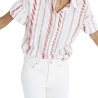 Madewell Central Stripe Ruffle Sleeve Shirt | Nordstrom