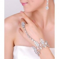 Elegant Colorful Rhinestone Embellished Two-Piece Jewelry For Bride