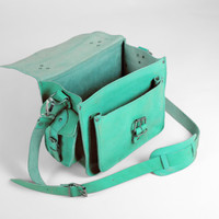 Handmade Leather Camera Bag Turquoise