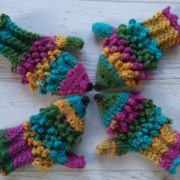 Hedgehog gloves in rainbow colors rainbow hedgehog mittens, funny gloves, crocheted gloves, gift for women, girlfriend, college student gift