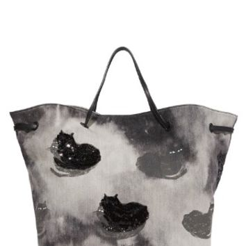 BYOT Printed Denim Fat Cat Shopper Tote