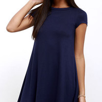 Made You Look Navy Blue Swing Dress