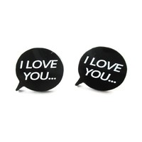 I Love You Speech Bubble Shaped Laser Cut Stud Earrings in Black