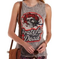 Olive Combo Grateful Dead Graphic Muscle Tee by Charlotte Russe